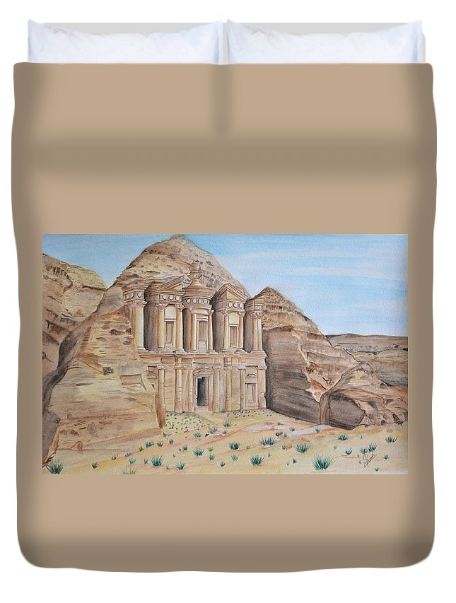 Petra Duvet Cover featuring the painting Petra by Swati Singh