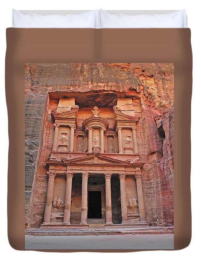 Petra Duvet Cover featuring the photograph Petra Treasury by Tony Beck