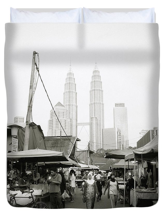 Kampung Baru Duvet Cover featuring the photograph Petronas Towers And Kampung Baru by Shaun Higson