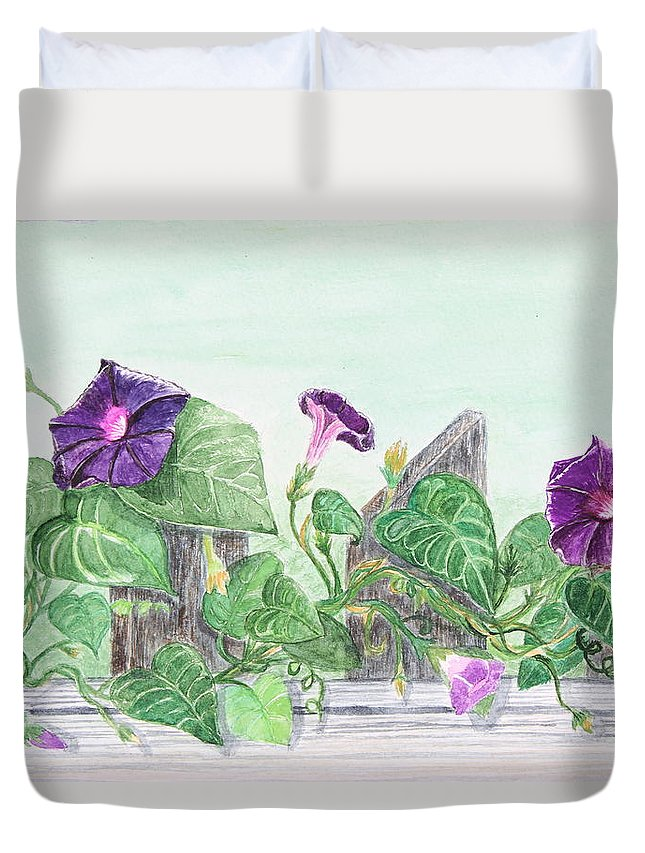 Petunia Duvet Cover featuring the painting Petunias On The Fence by Tina Huffman