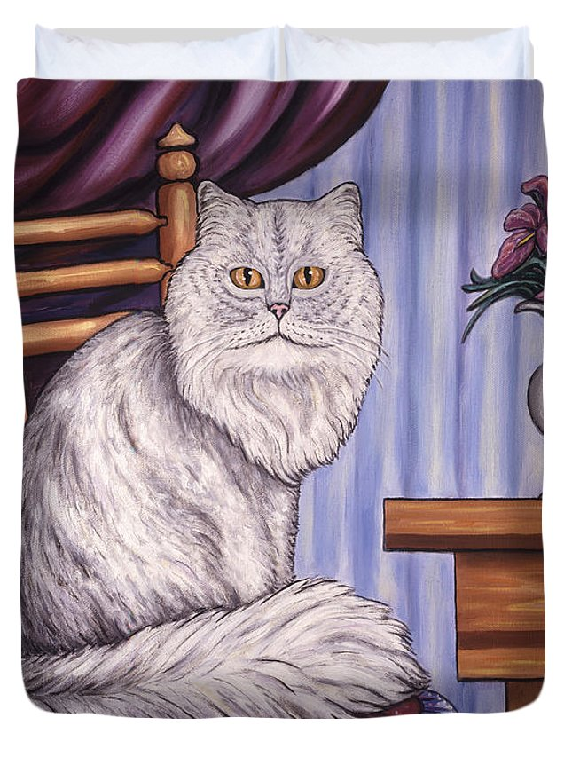 Cat Duvet Cover featuring the painting Pewter The Cat by Linda Mears