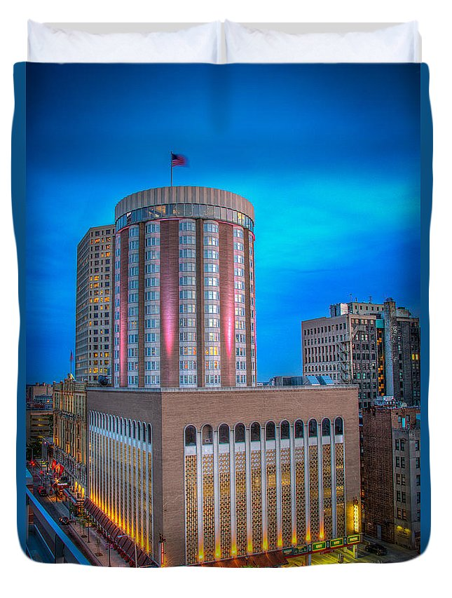Cityscape Duvet Cover featuring the photograph Pfister Twilight by Andrew Slater
