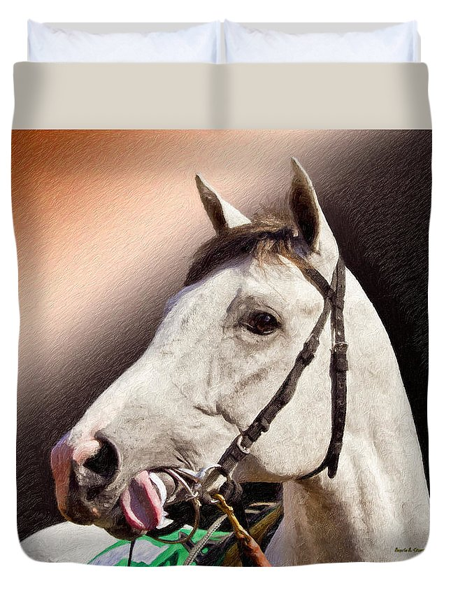 Phantom Lover Duvet Cover featuring the painting Phantom Lover Race Horse Looking On by Angela Stanton