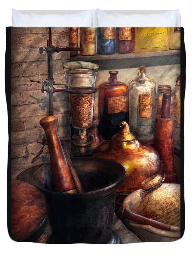 Doctor Duvet Cover featuring the photograph Pharmacy - Pestle - Pharmacology by Mike Savad