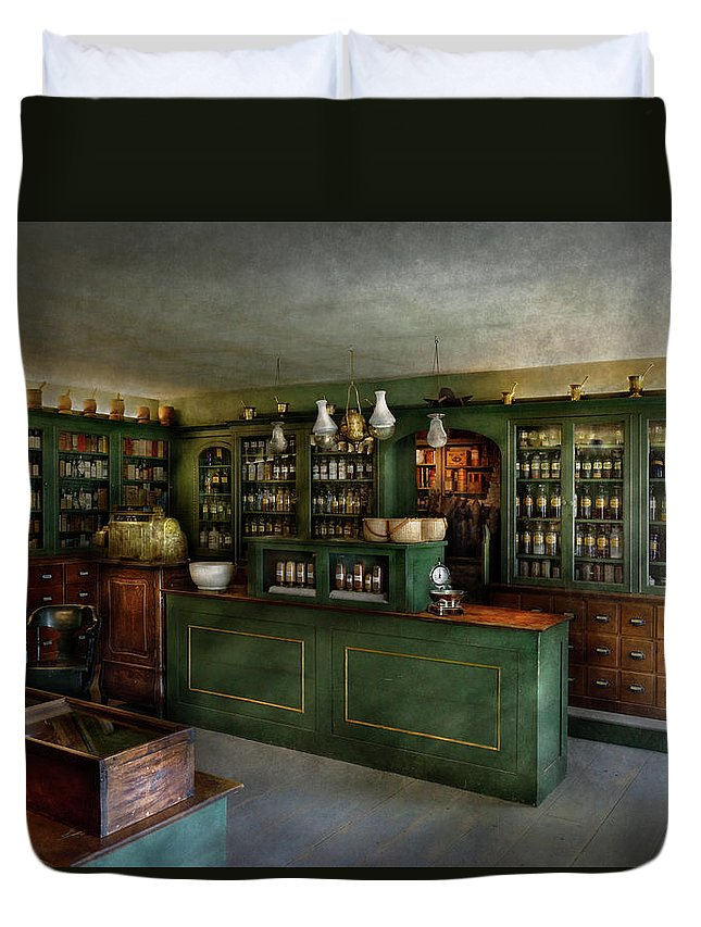 Apothecary Duvet Cover featuring the photograph Pharmacy - The Chemist Shop by Mike Savad