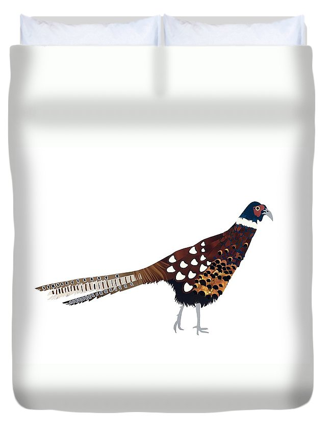 Pheasant Duvet Cover featuring the painting Pheasant by Isobel Barber