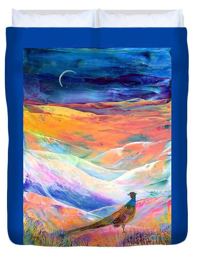 Meadow Duvet Cover featuring the painting Pheasant Moon by Jane Small