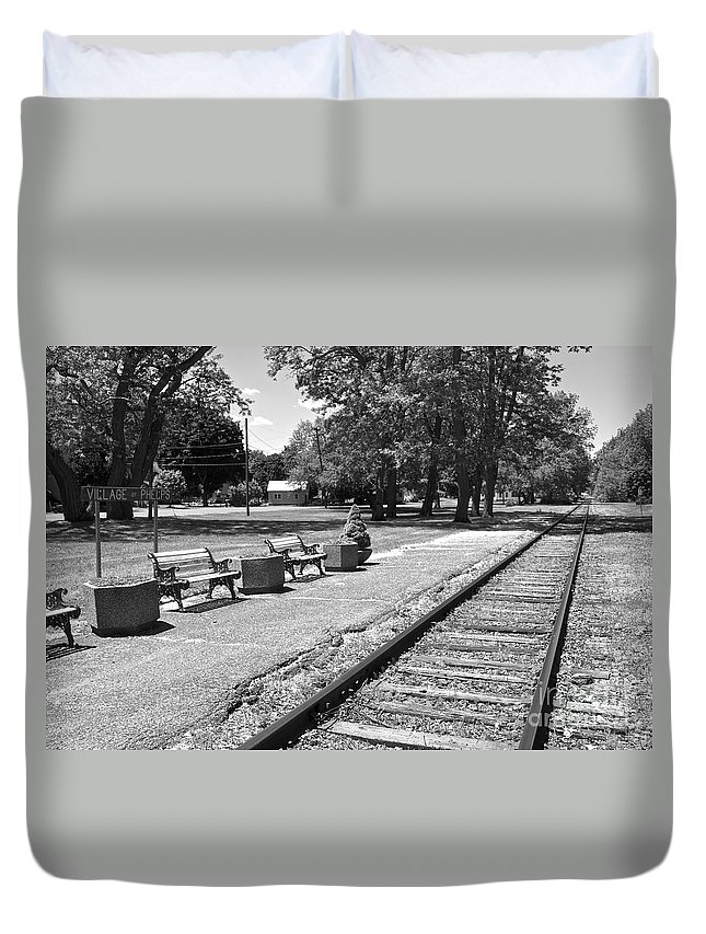 Phelps Duvet Cover featuring the photograph Phelps Ny Train Station In Black And White by William Norton