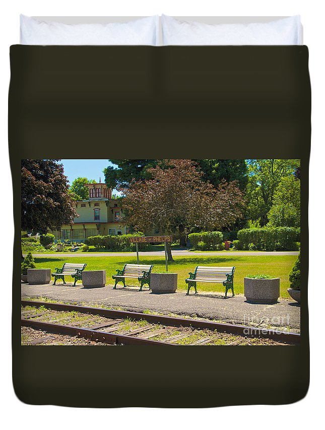 Phelps Duvet Cover featuring the photograph Phelps Ny Train Station by William Norton