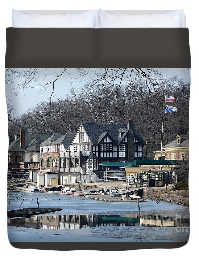 Philadelphia Duvet Cover featuring the photograph Philadelphia - Boat House Row by Cindy Manero
