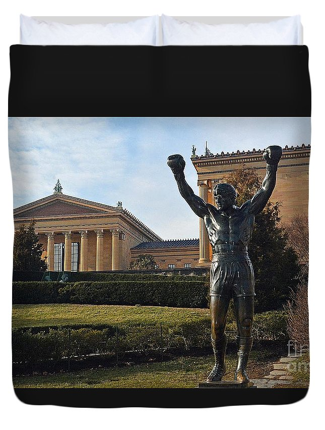 Philadelphia Duvet Cover featuring the photograph Philadelphia - Rocky by Cindy Manero