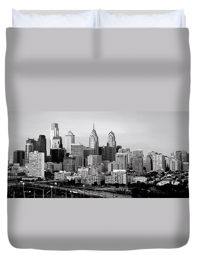 Philadelphia Skyline At Dusk Duvet Cover featuring the photograph Philadelphia Skyline Black And White Bw Pano by Jon Holiday