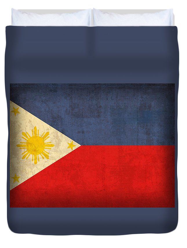 Philippines Duvet Cover featuring the mixed media Philippines Flag Vintage Distressed Finish by Design Turnpike