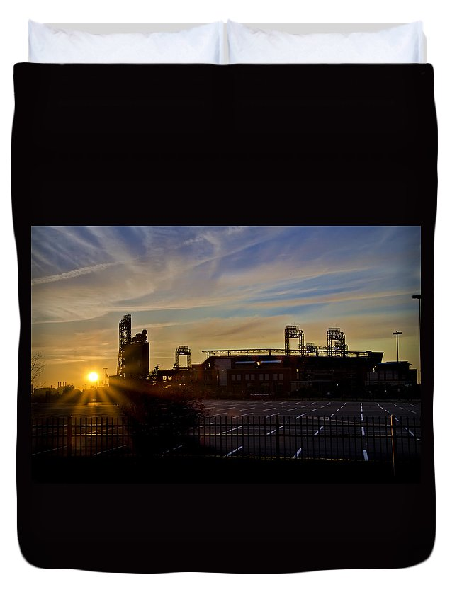 Phillies Duvet Cover featuring the photograph Phillies Citizens Bank Park At Dawn by Bill Cannon