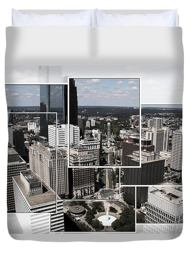 Philadelphia Aerial Scenic Duvet Cover featuring the photograph Philly Squared by Alice Gipson