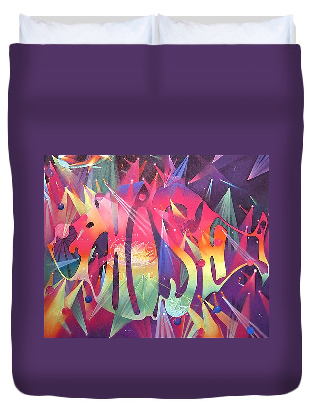 Phish Duvet Cover featuring the drawing Phish The Mother Ship by Joshua Morton