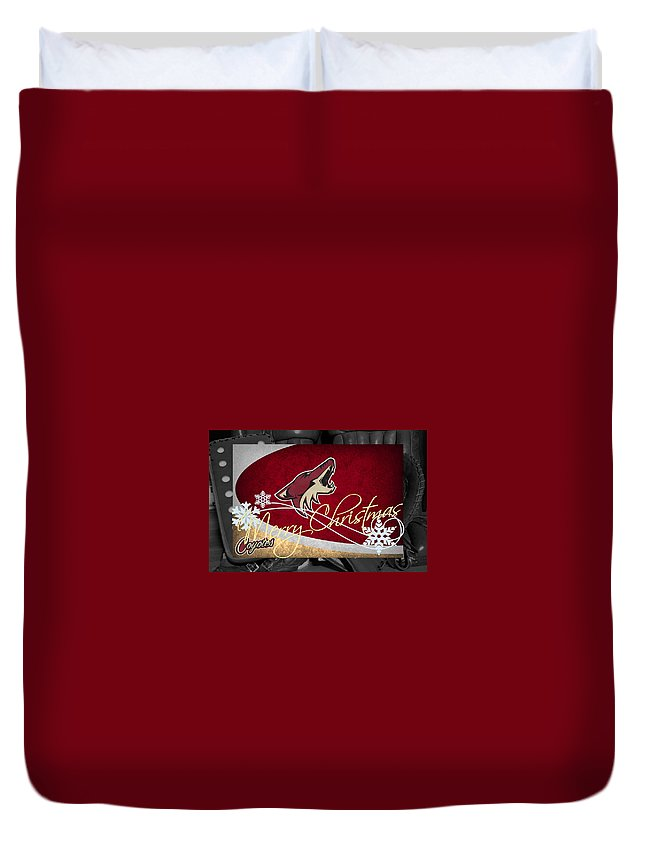 Coyotes Duvet Cover featuring the photograph Phoenix Coyotes Christmas by Joe Hamilton