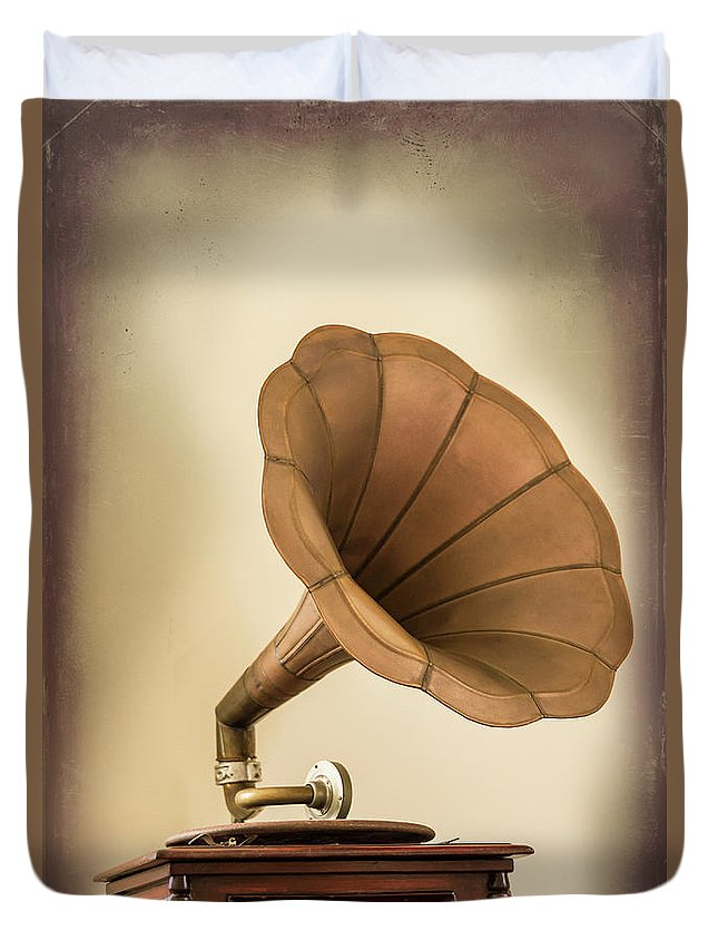 Music Duvet Cover featuring the photograph Phonograph Record Player by Gary S Chapman