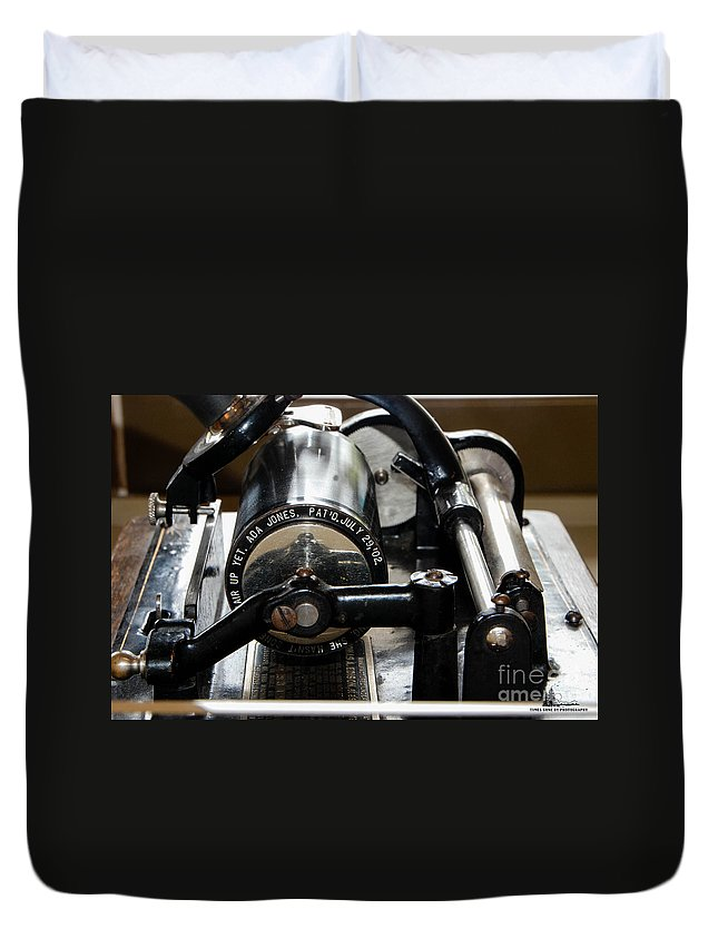 Phonograph Duvet Cover featuring the photograph Phonograph Recording Cylinder by Grace Grogan