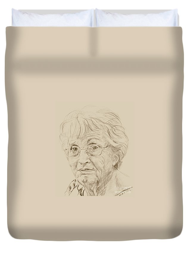 Memory Care Duvet Cover featuring the drawing Phyllis by PainterArtist FIN