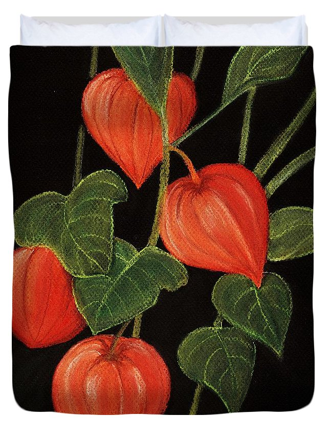 Plant Duvet Cover featuring the painting Physalis by Anastasiya Malakhova