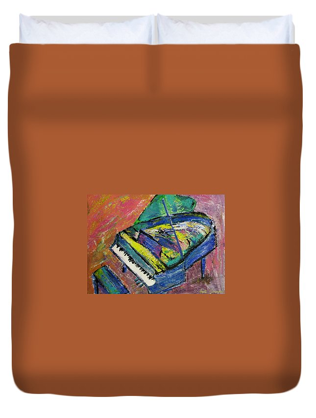 Piano Duvet Cover featuring the painting Piano Blue by Anita Burgermeister