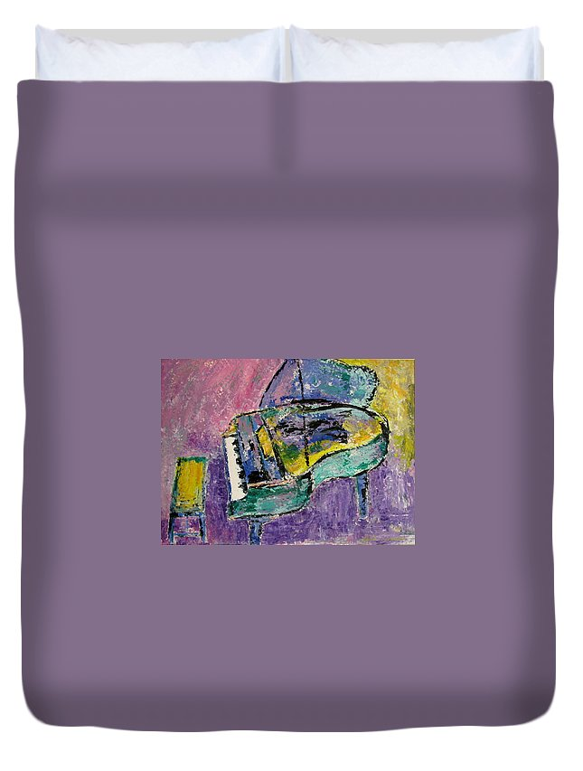 Impressionist Duvet Cover featuring the painting Piano Green by Anita Burgermeister