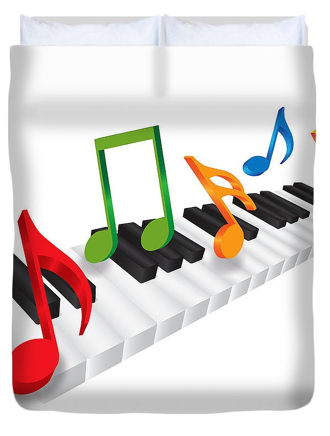 Piano Duvet Cover featuring the photograph Piano Keyboard And 3d Music Notes Illustration by Jit Lim