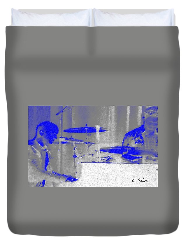 Isaac Slade Duvet Cover featuring the digital art Piano Player In Pastel Blue by George Pedro