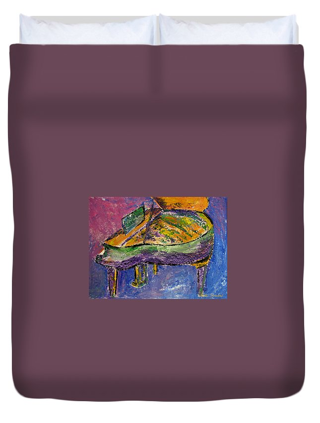 Impressionist Duvet Cover featuring the painting Piano Purple by Anita Burgermeister