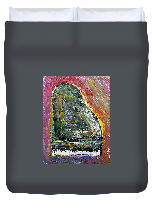 Impressionist Duvet Cover featuring the painting Piano Red by Anita Burgermeister