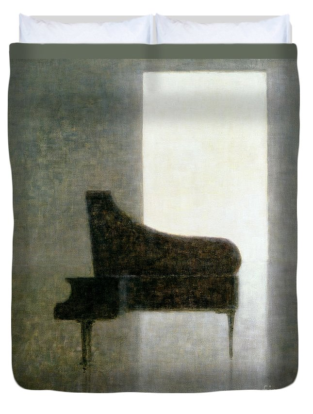 Open; Grand; Solitude; Musical Instrument; Empty; Solitary; Shadow; Silhouette; Doorway; Silent; Silence Duvet Cover featuring the painting Piano Room 2005 by Lincoln Seligman