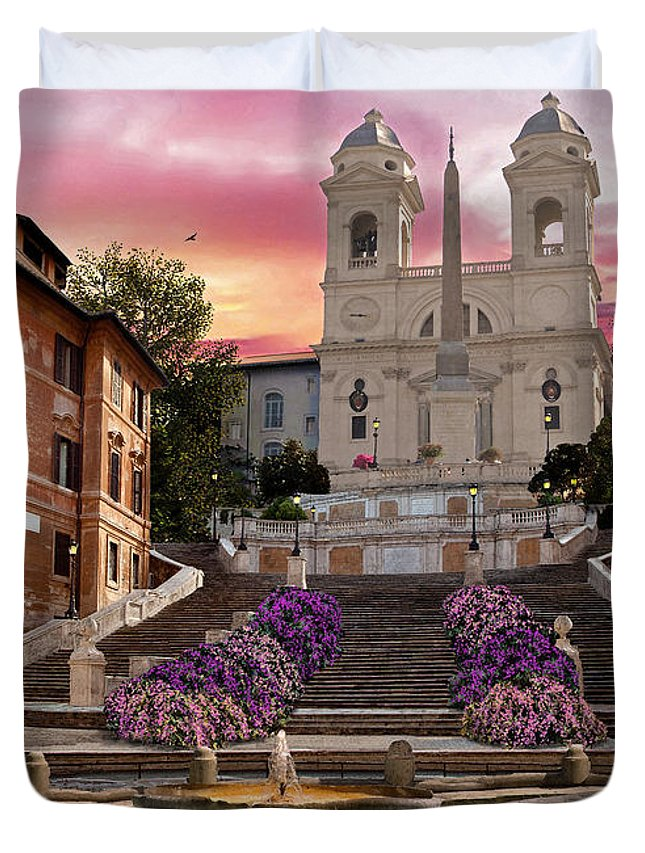 Piazza Di Spagna Duvet Cover featuring the digital art Piazza Di Spagna by MGL Meiklejohn Graphics Licensing