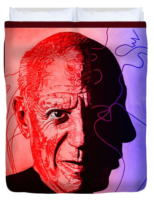 Joe Ciccarone Duvet Cover featuring the painting Picasso In Light Sketch 2 by Joe Ciccarone