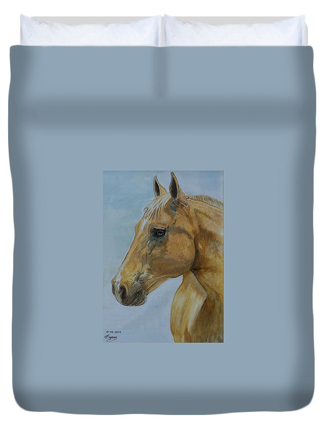 Horse Duvet Cover featuring the painting Picasso by Tracey Beer