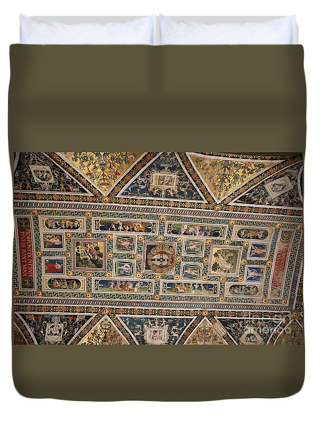 Ceiling Duvet Cover featuring the photograph Piccolomini Bibliotheca - Siena by Christiane Schulze Art And Photography