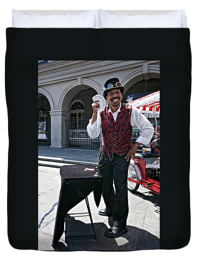 French Quarter Duvet Cover featuring the photograph Pick A Card...any Card by Steve Harrington