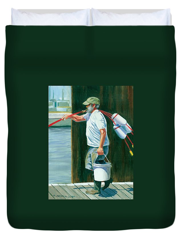 Pickup Buoys Duvet Cover featuring the painting Pickin' Up Sticks by Marguerite Chadwick-Juner