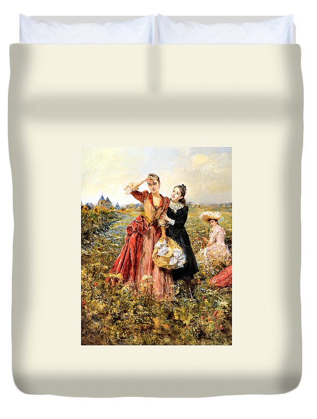 Eduardo Leon Garrido Duvet Cover featuring the digital art Picking Wildflowers by Eduardo Leon Garrido