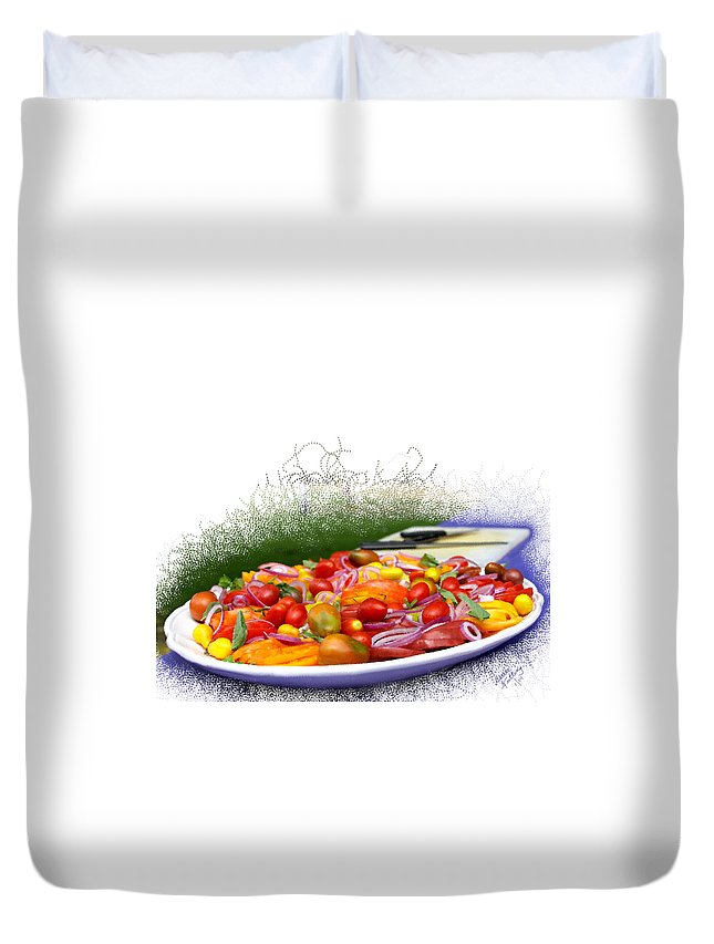 Salad Duvet Cover featuring the painting Picnic Fresh Salad by Bruce Nutting