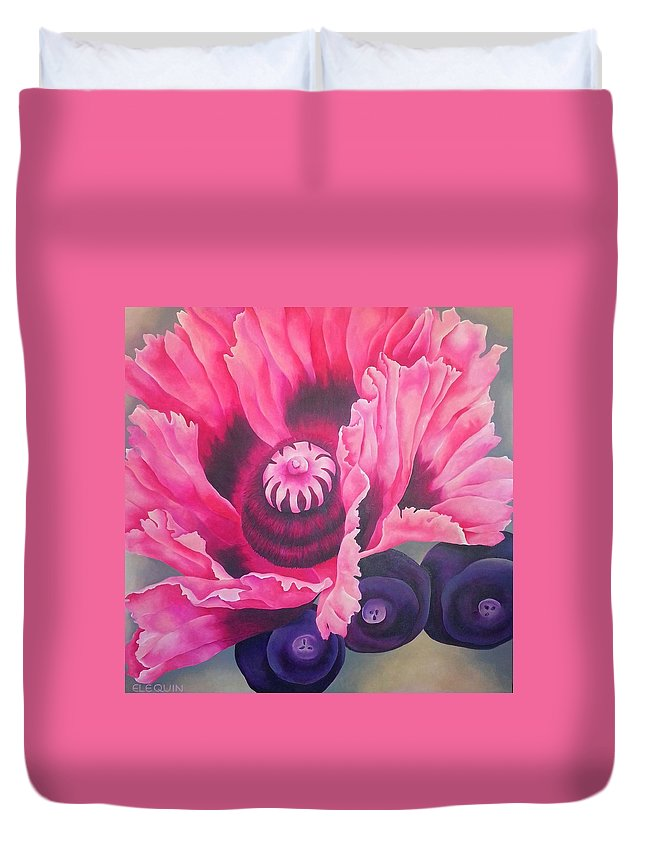 Pink Duvet Cover featuring the painting Picotee by Elizabeth Elequin