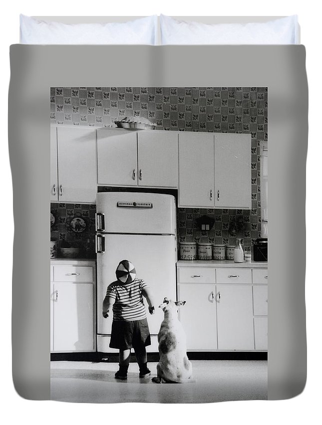 Pie Duvet Cover featuring the photograph Pie In The Sky In Black And White by Rob Hans