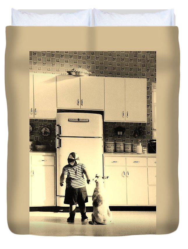 Pie Duvet Cover featuring the photograph Pie In The Sky In Sepia by Rob Hans
