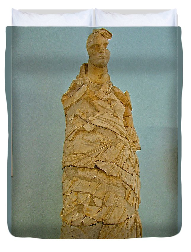 Pieced Sculpture From Perge In Antalya Archeological Museum Duvet Cover featuring the photograph Pieced Sculpture From Perge In Antalya Archeological Museum-turkey by Ruth Hager
