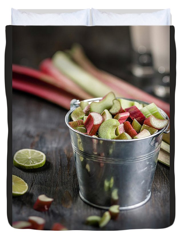 Bucket Duvet Cover featuring the photograph Pieces Of Rhubarb In Metal Bucket And by Westend61
