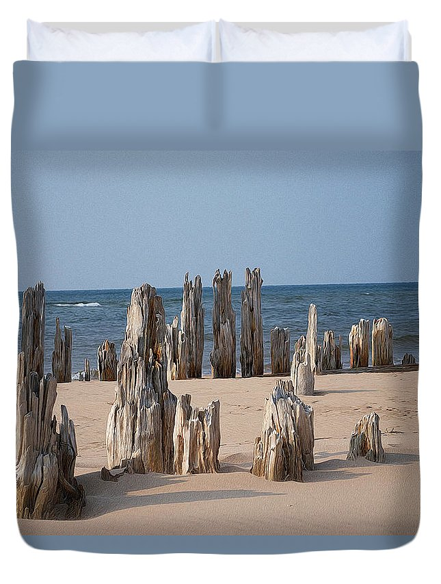 The Skeletal Remains Of The Old Pier At St. Peter's Harbour In Prince Edward Island Duvet Cover featuring the photograph Pier One by WB Johnston
