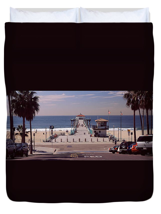 Photography Duvet Cover featuring the photograph Pier Over An Ocean, Manhattan Beach by Panoramic Images