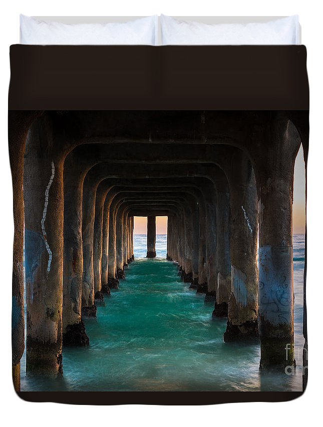 America Duvet Cover featuring the photograph Pier Pylons by Inge Johnsson