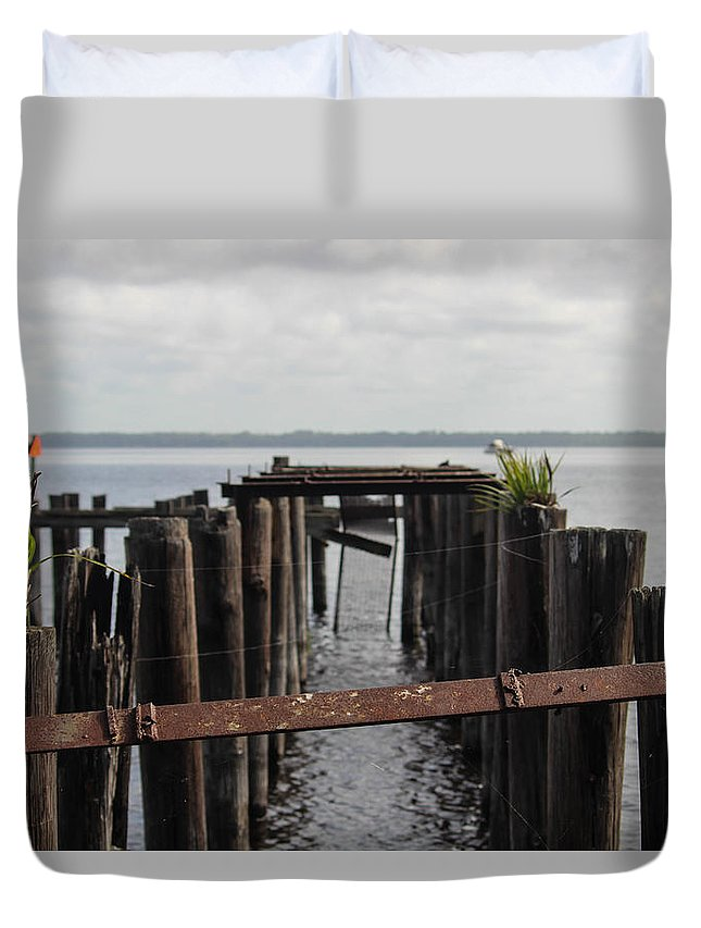 Pier Duvet Cover featuring the photograph Pier To Nowhere by Patti Colston