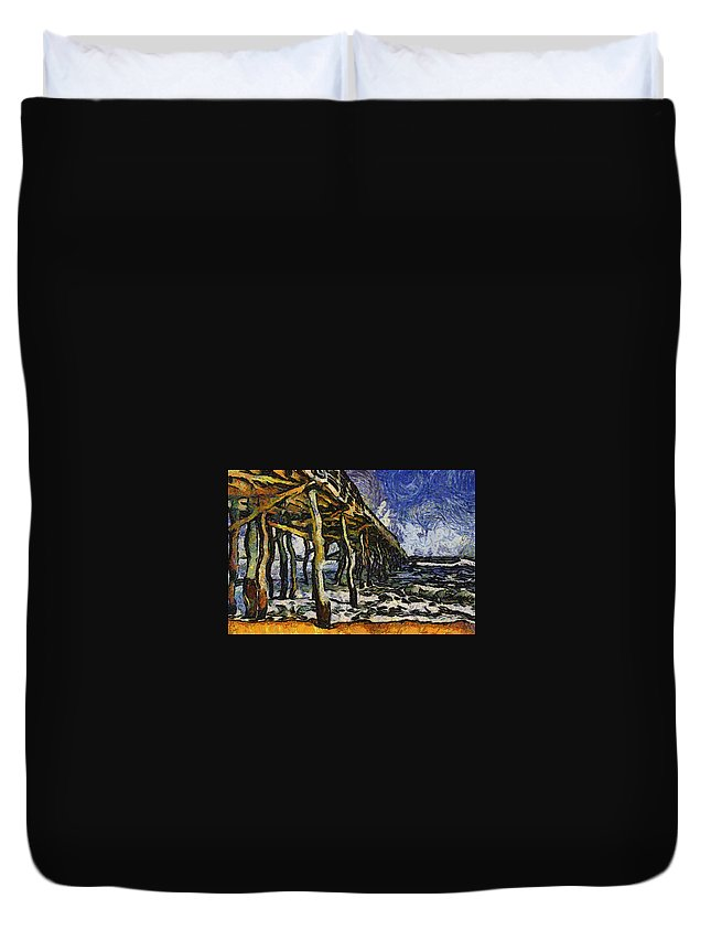 Pier Duvet Cover featuring the photograph Pier Van Gogh by Alice Gipson